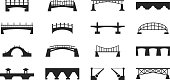 Vector black bridges icons isolated on white urban construction silhouettes