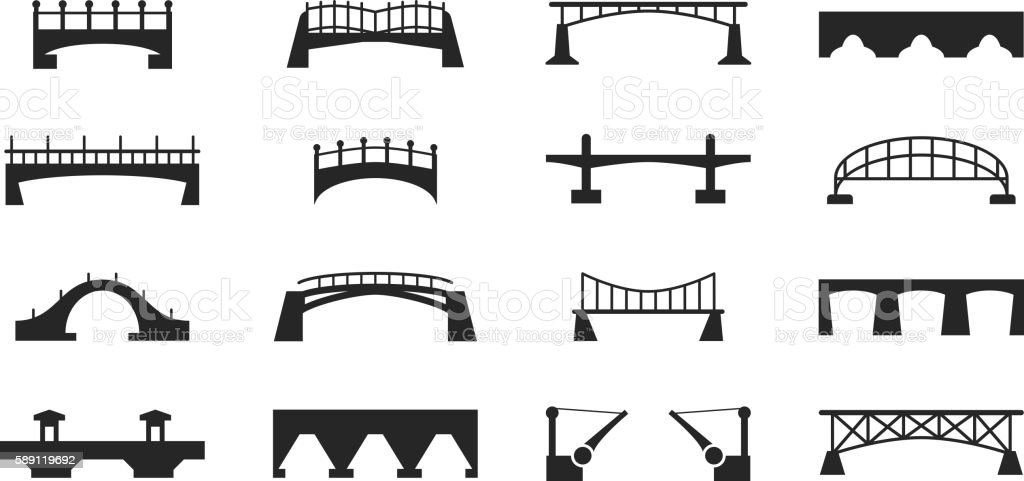 Vector black bridges icons isolated on white urban construction silhouettes​​vectorkunst illustratie