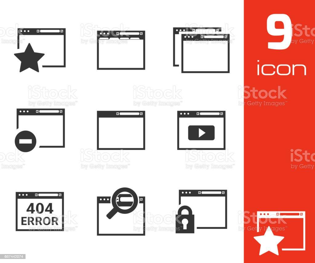 Vector noir icônes de navigation - Illustration vectorielle