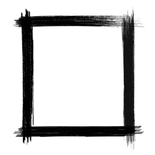 ilustrações, clipart, desenhos animados e ícones de quadro de traçado de pincel vector preto isolado - texturas desgastadas