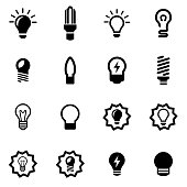 Vector black bulbs icon set on white background