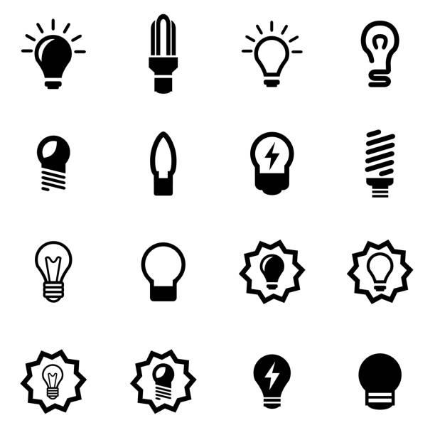 illustrations, cliparts, dessins animés et icônes de vector noir ampoules groupe d'icônes - lampe électrique