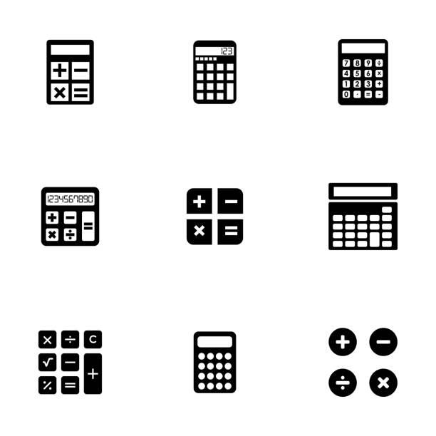 illustrazioni stock, clip art, cartoni animati e icone di tendenza di set di icone vettoriali nero calcolatore - calcolatrice
