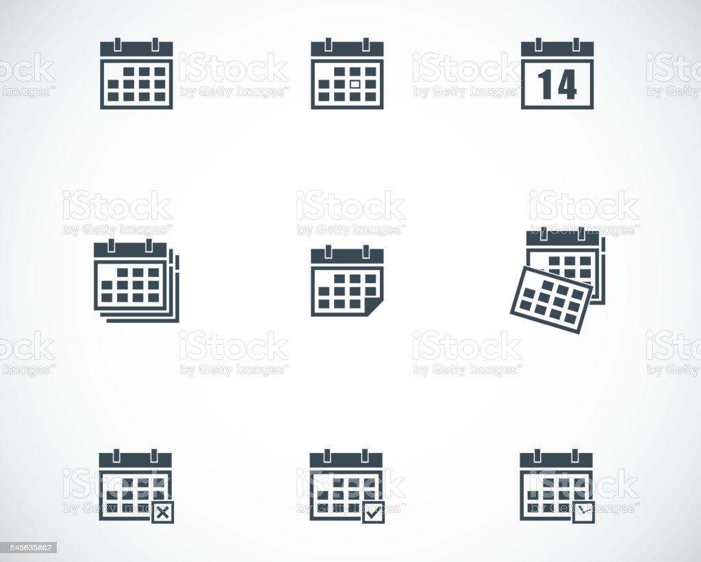 Vector black calendar icons set vector art illustration