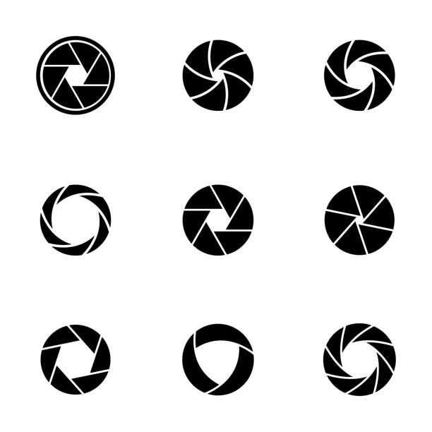 Vector black camera shutter icons set Vector black camera shutter icons set on white background aperture stock illustrations