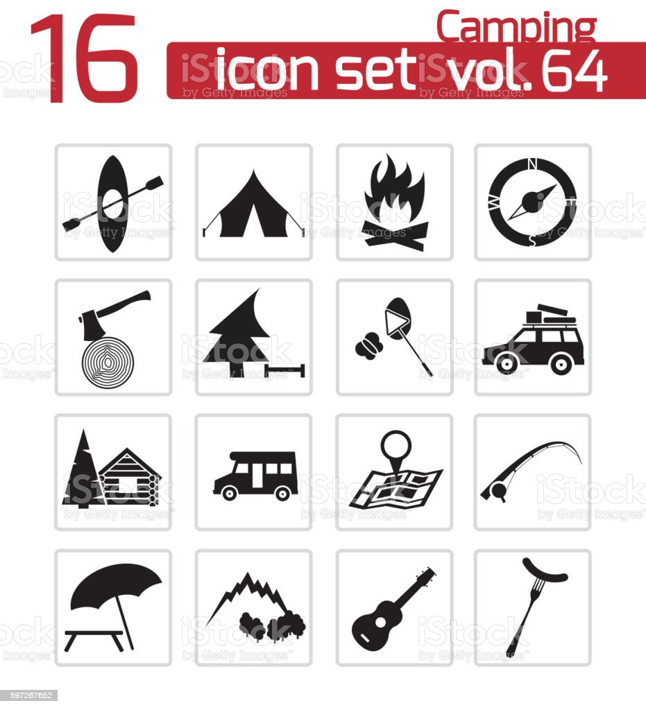 Vector black camping icons set royalty-free vector black camping icons set stock illustration - download image now