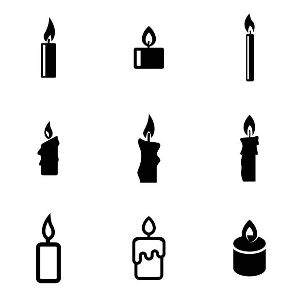 Vector black candles icon set Vector black candles icon set candle stock illustrations