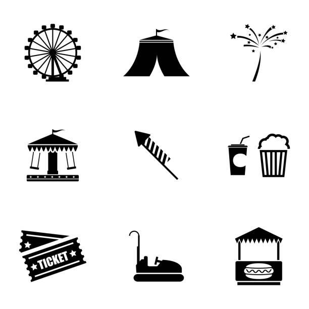 illustrazioni stock, clip art, cartoni animati e icone di tendenza di vettoriale icone impostare di carnevale nero - funfair entrance