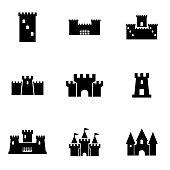 Vector black castle icon set