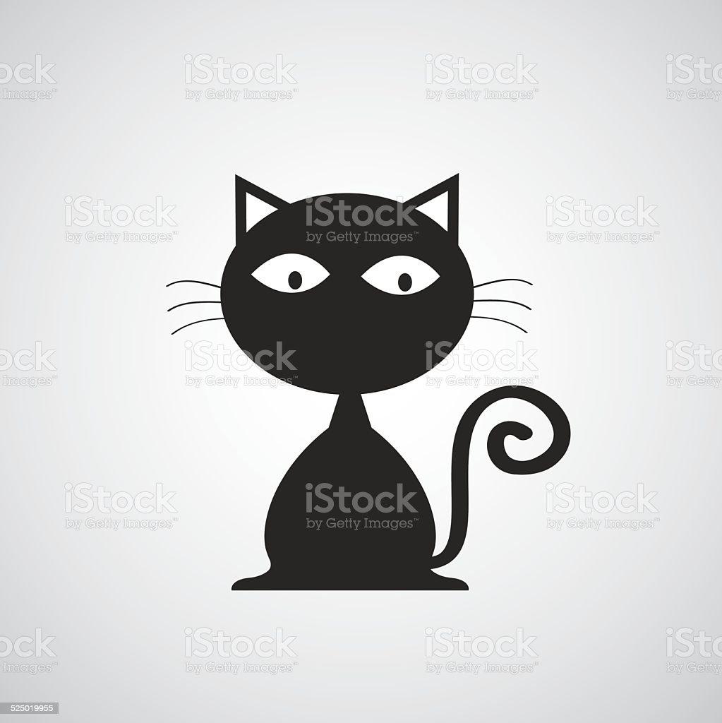 vector black cat cartoon vector art illustration