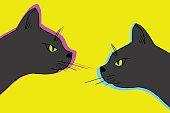 Vector black cat couple. Domestic animal hand drawn illustration
