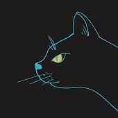 Vector black cat head. Domestic animal hand drawn illustration
