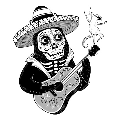 Vector black cat in a sombrero with guitar and singing mouse. Day of the Dead or 'Día de Muertos'