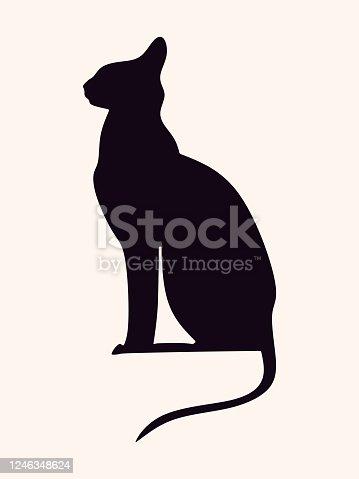 Vector black cat. Single element.