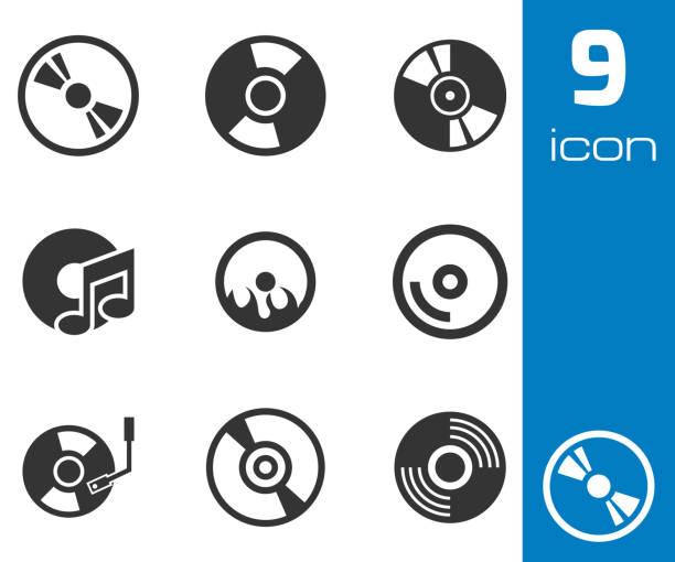 ilustrações, clipart, desenhos animados e ícones de vector conjunto de ícones pretos disco cd - cd