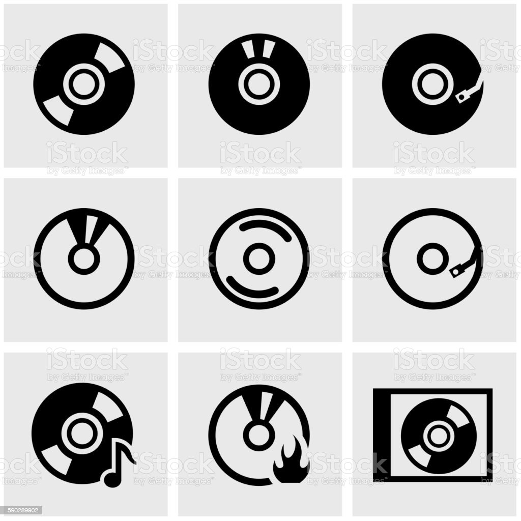 Vector black cd icon set vector art illustration