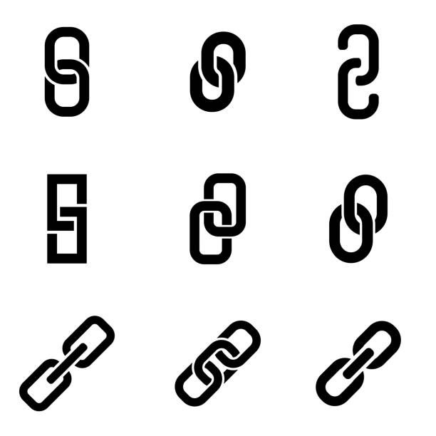 Vector black chain or link icon set Vector black chain or link icon set hyperlink stock illustrations