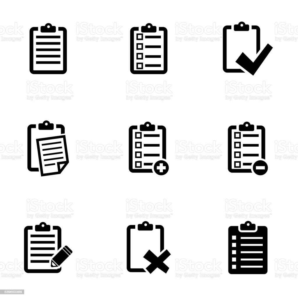Vector black check list icon set vector art illustration