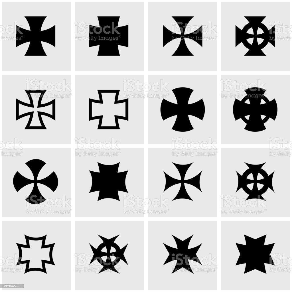 Vector black choppers crosses icon set vector art illustration