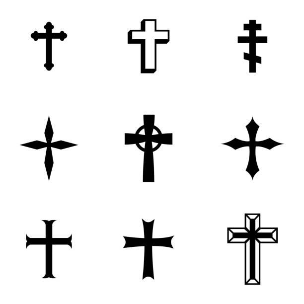illustrazioni stock, clip art, cartoni animati e icone di tendenza di vettoriale icone set croci christia nero - irritazione