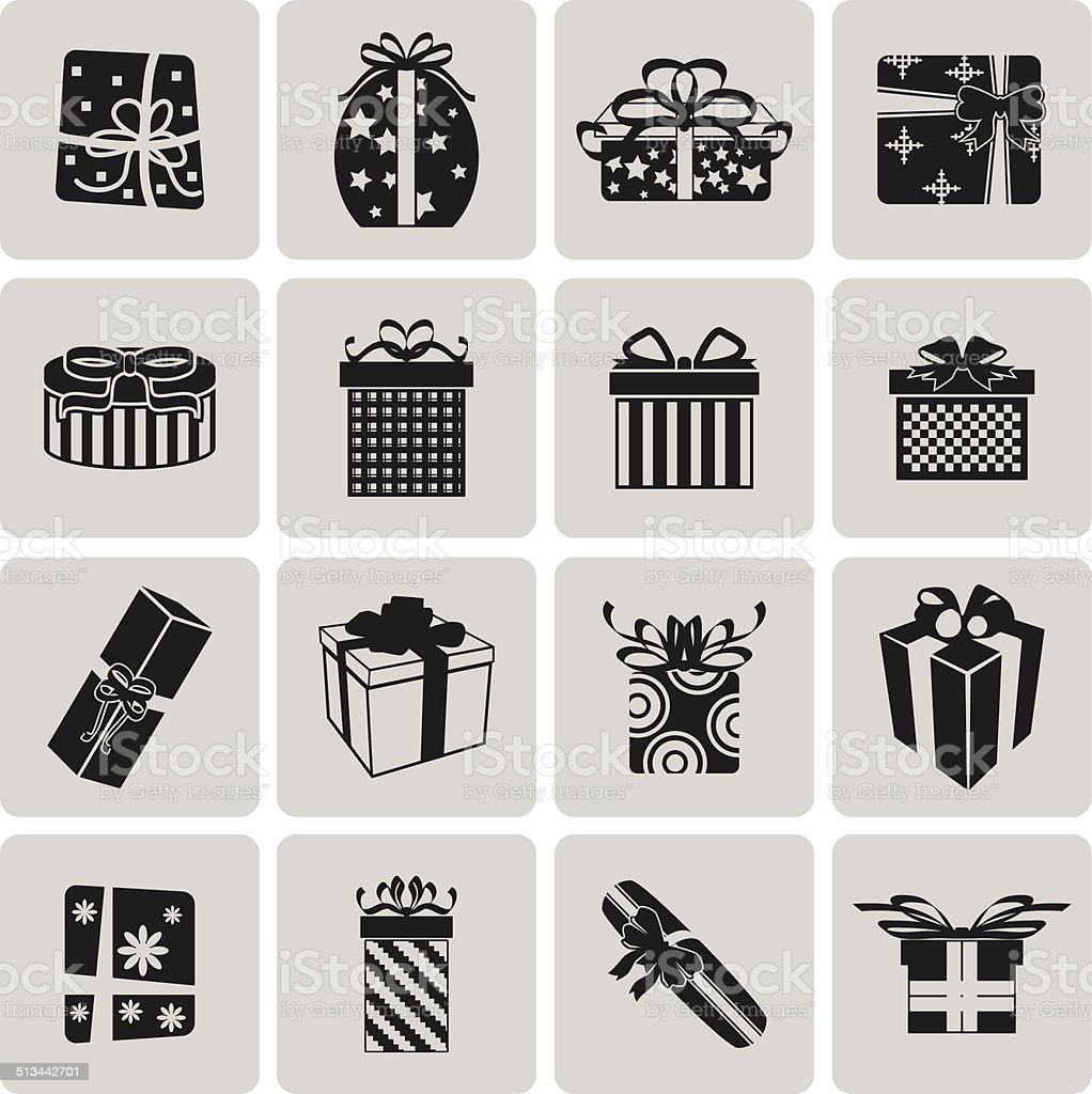 Vector Black Christmas Gift Icon Set3 Vector Illustration Eps10 Stock Illustration Download Image Now Istock