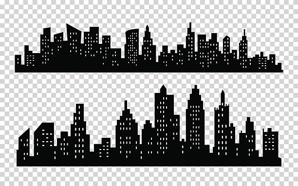 Vector black city silhouette icon set isolated on white background Vector black city silhouette icons set isolated on white background ziek stock illustrations