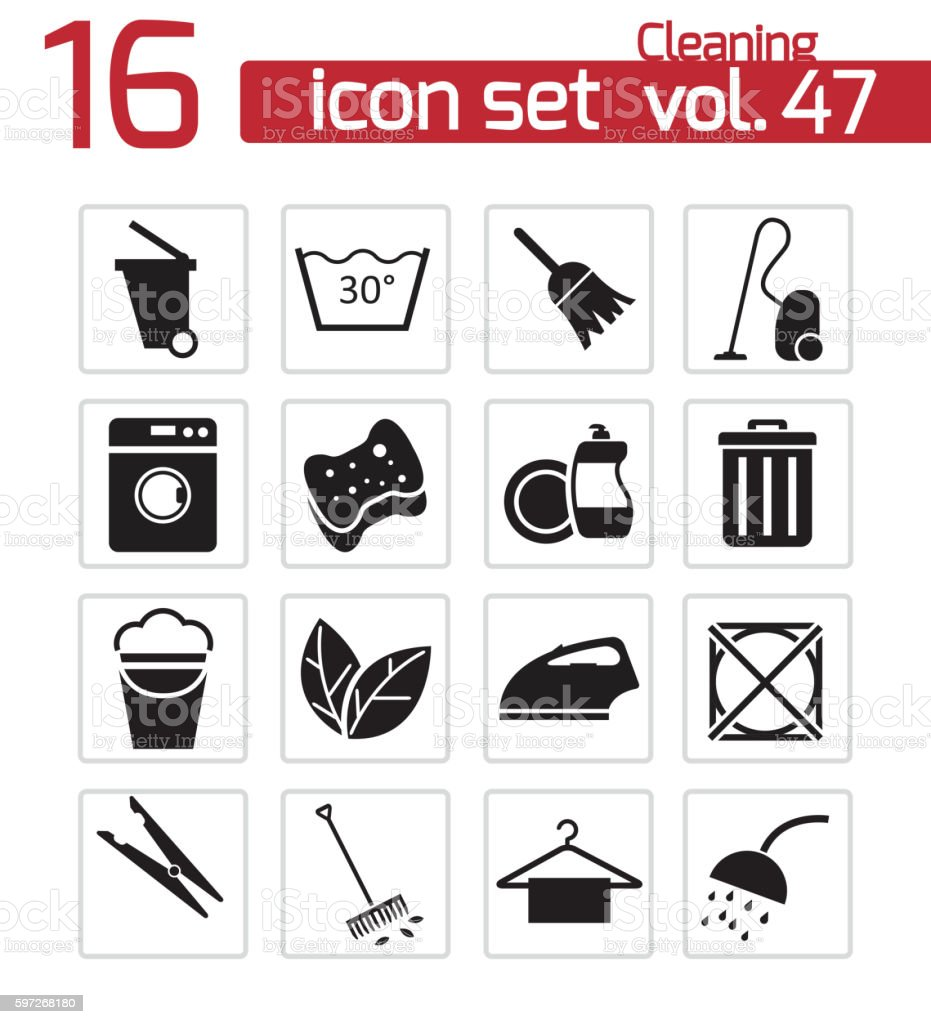 Vector black cleaning icons set royalty-free vector black cleaning icons set stock vector art & more images of arranging