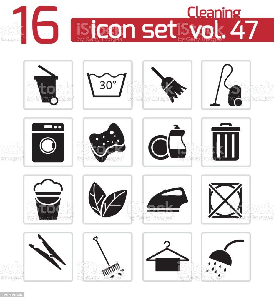 Vector noir icônes set de nettoyage vector noir icônes set de nettoyage – cliparts vectoriels et plus d'images de arranger libre de droits