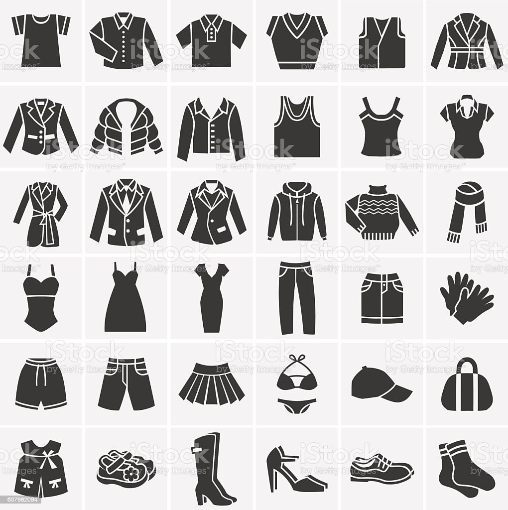 Vector black clothes icons collection