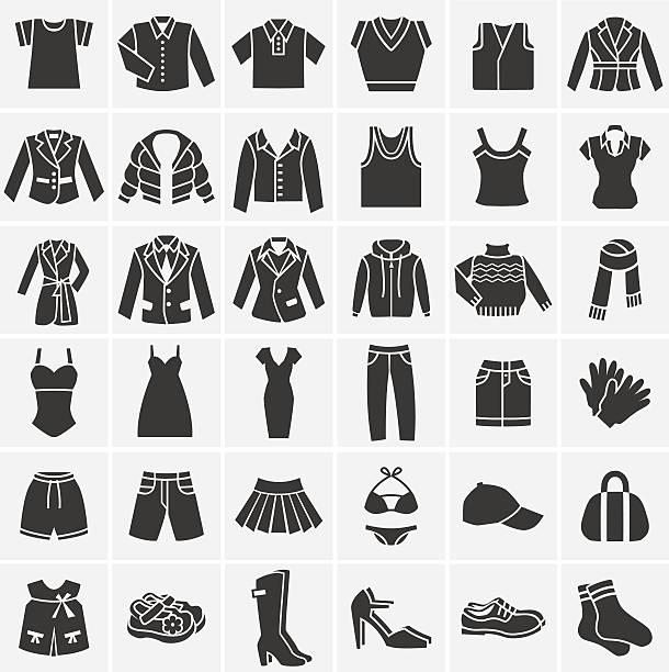 illustrations, cliparts, dessins animés et icônes de vector black clothes icons collection - homme slip