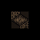Black Coffee logo design template. Vector line bean logotype, sign and  symbol. Java grain illustration isolated on background. Modern linear label badge for cafe, coffeehouse, bar