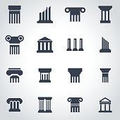 Vector black column icon set