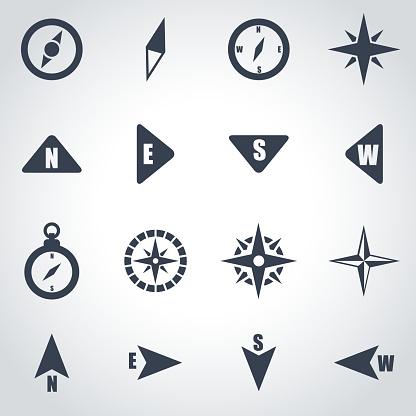 Vector black compass icon set