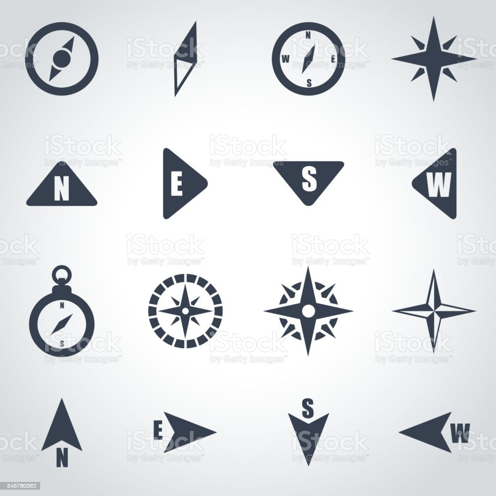 Vector black compass icon set vector art illustration