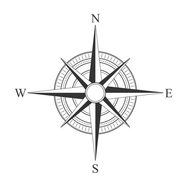 Vector black compass icons. vector art illustration