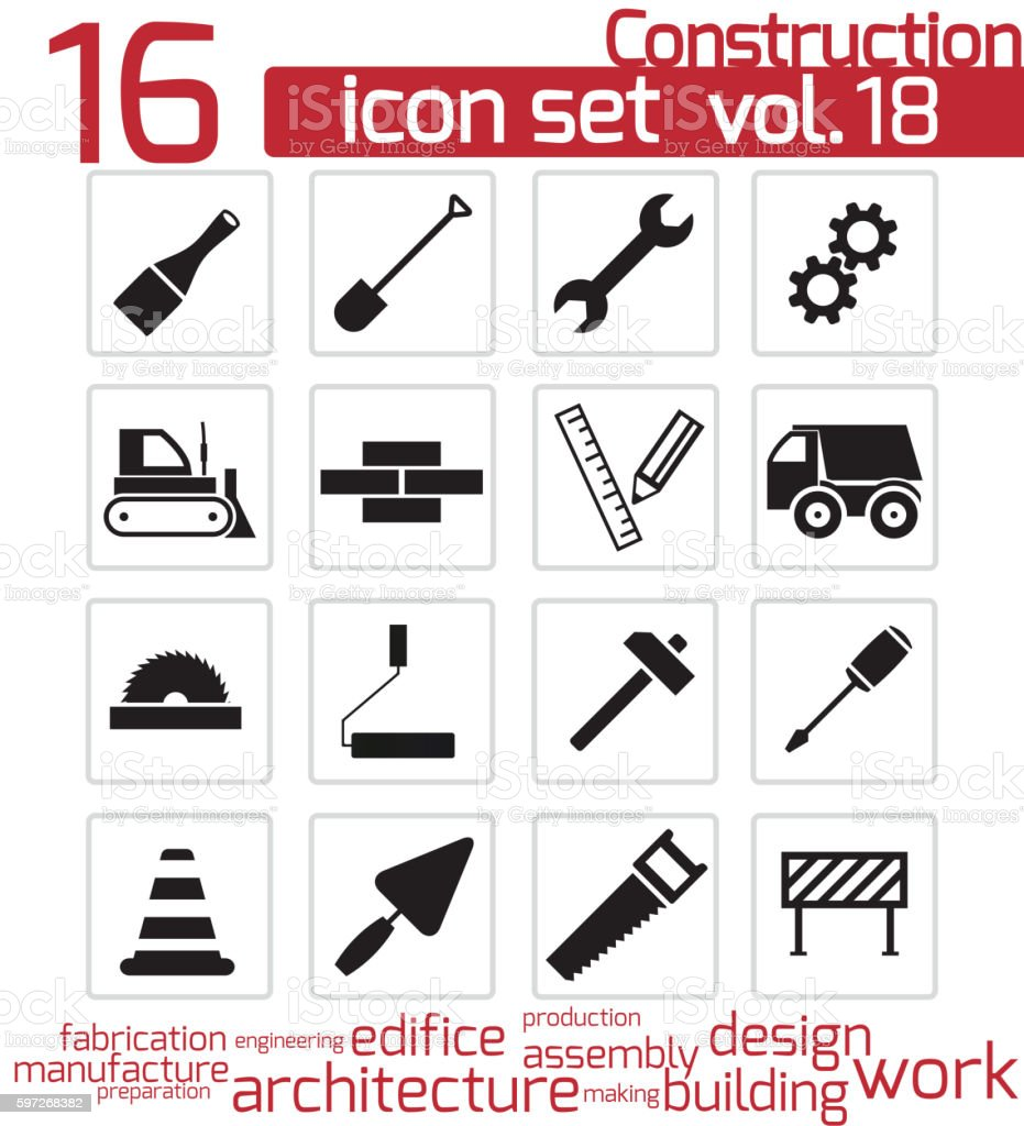Vector black construction icons set royalty-free vector black construction icons set stock vector art & more images of arranging