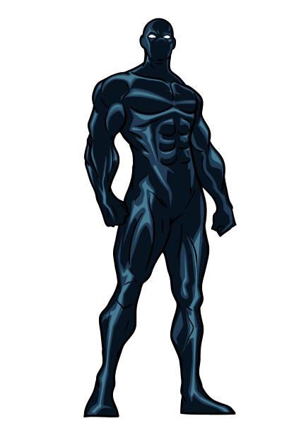 bildbanksillustrationer, clip art samt tecknat material och ikoner med svart kostym superhjälte vektorillustration - superhjälte isolated
