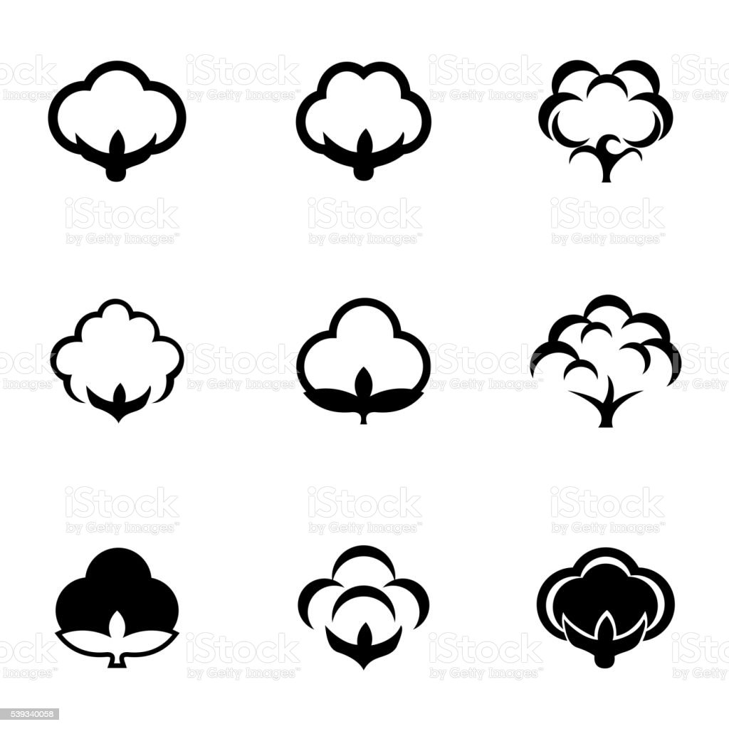 Vector black cotton icon set vector art illustration