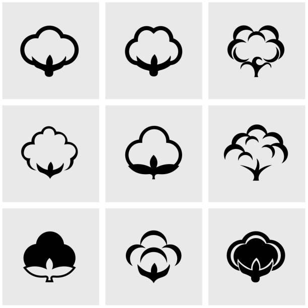 Vektor Schwarz Baumwolle Symbol-set – Vektorgrafik