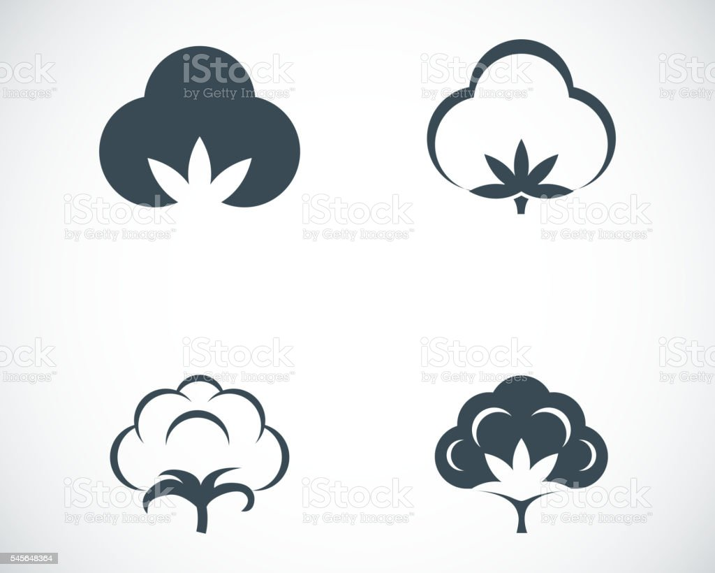 Vector black cotton icons set vector art illustration
