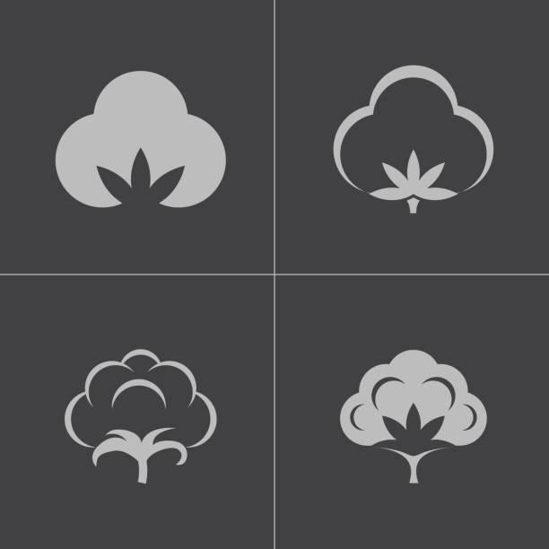 Vektor schwarze Symbole satz aus Baumwolle – Vektorgrafik