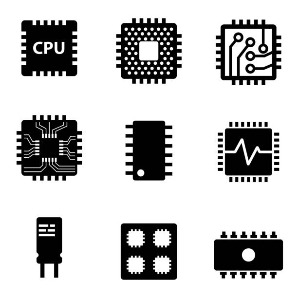 Vector black CPU microprocessor and chips icons set Vector black CPU microprocessor and chips icons set. Electronic chip icons on white background computer chip stock illustrations
