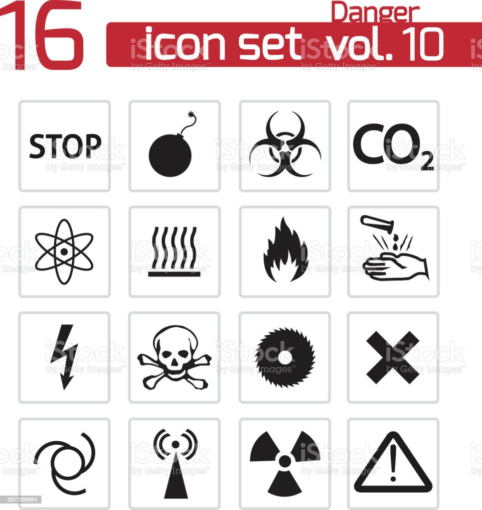 vector black danger icons set royalty-free vector black danger icons set stock vector art & more images of arranging
