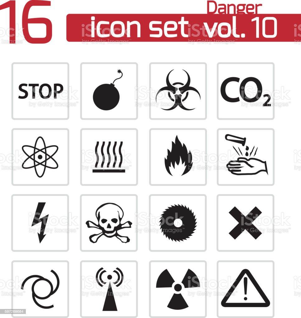 vector black danger icons set vector black danger icons set – cliparts vectoriels et plus d'images de arranger libre de droits