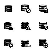 Vector black database icon set