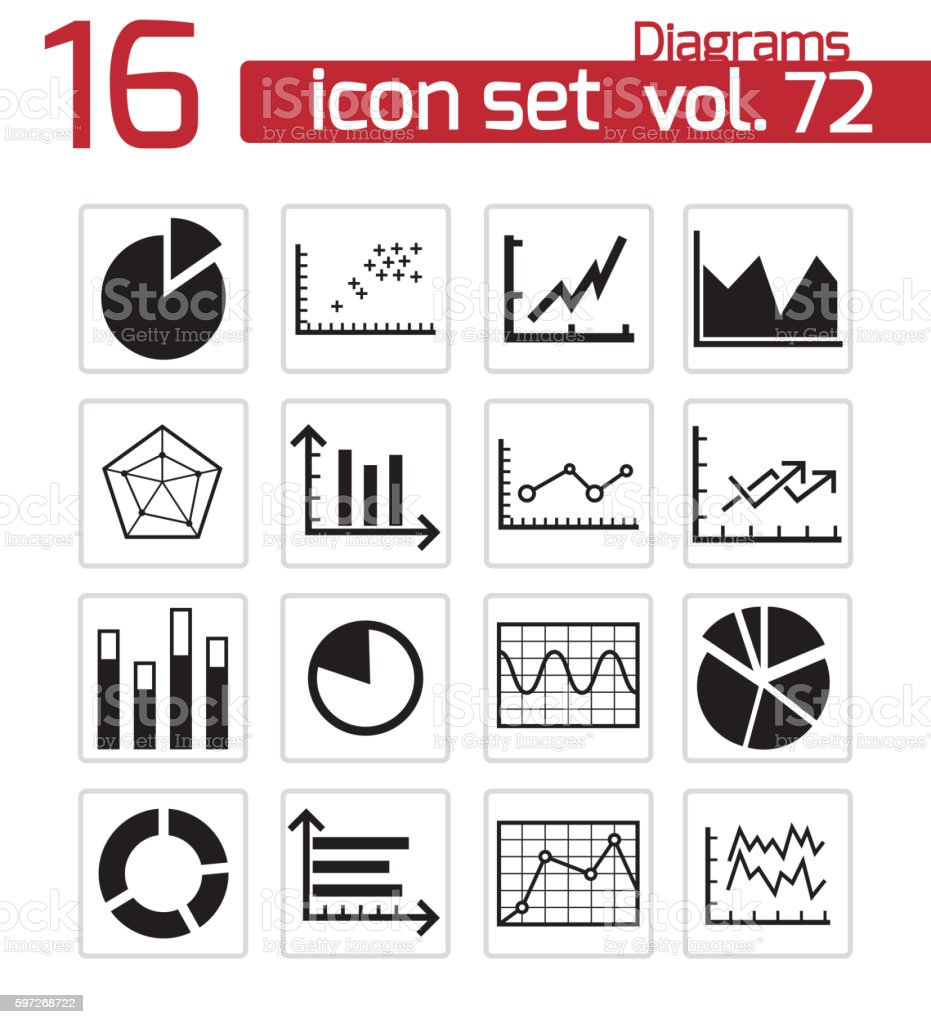 Vector black diagrams icons set vector black diagrams icons set – cliparts vectoriels et plus d'images de affaires libre de droits