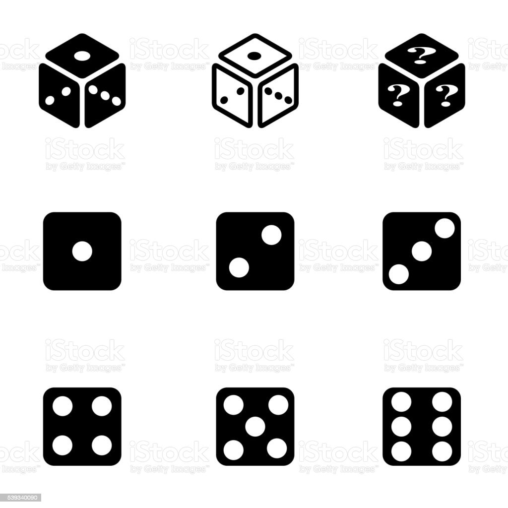 Vector black dice icon set vector art illustration