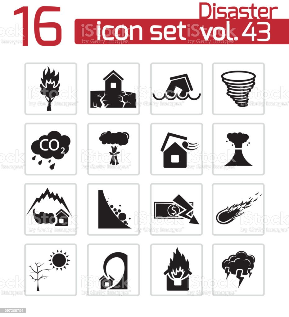 Vector black disaster icons set royalty-free vector black disaster icons set stock vector art & more images of accidents and disasters