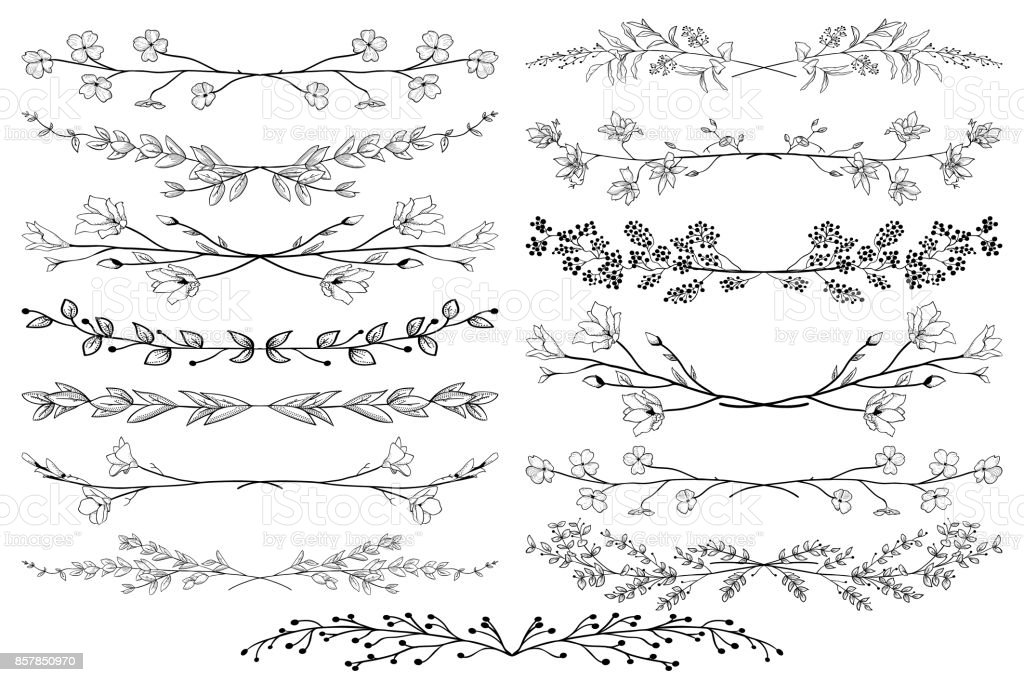 Vector Black Dividers with Branches, Plants and Flowers royalty-free vector black dividers with branches plants and flowers stock illustration - download image now