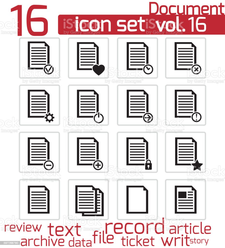 Vektor Schwarz Dokument-icons satz Lizenzfreies vektor schwarz dokumenticons satz stock vektor art und mehr bilder von akte